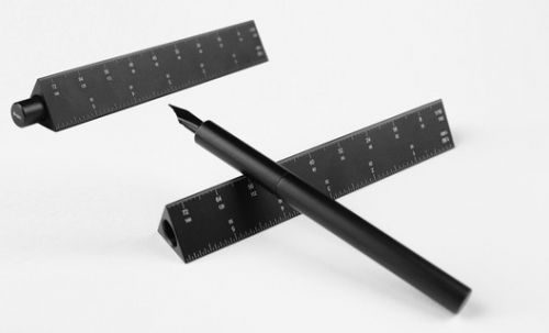 """ENSSO launch """"Scale Ruler Fountain Pen"""" made from Black Aluminum"""