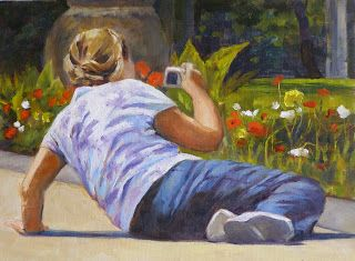 The Photographer, 8x10 Original Oil Painting on Canvas