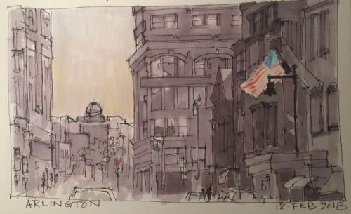"Day 137 ""Arlington Street"" 5 x 9 mixed"