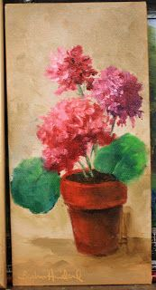 Flowers,Geraniums in Pot,oil painting,Barbara Haviland-Texas Floral Artist