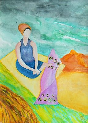 """Expressionist Figurative Painting, Watercolor, Original Art """"Flying Carpet"""" by Colorado Artist Kit Hedman, Boarding House Studio Galleries"""