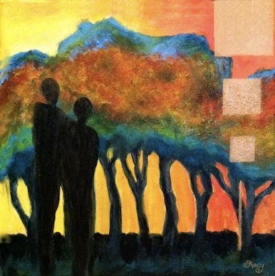 "Original Contemporary Abstract Mixed Media Painting,Trees,Abstract Figure ""Together"" by Contemporary Arizona Artist Pat Stacy"