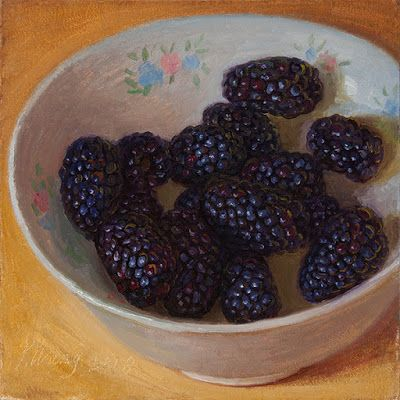 Blackberries still life fruit painting food a painting a day daily painting small original