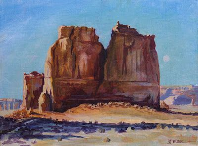 "Original Western Landscape Fine Art Painting ""Courthouse-Group-at-Arches"" by Colorado Artist Nancee Jean Busse, Painter of the American West"