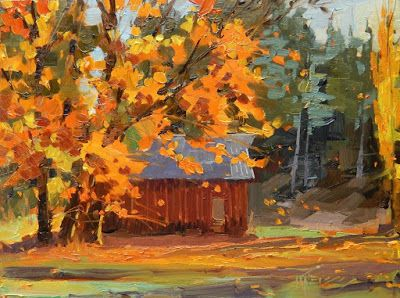"""""""The Old Red Barn"""" plein air landscape by Robin Weiss"""