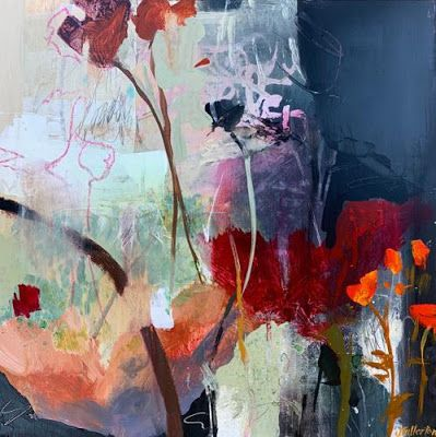 """Contemporary Botanical Landscape Painting, Abstract Art """"WILD AND PASSIONATE GROWTH"""" by Intuitive Artist Joan Fullerton"""