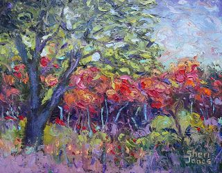 Whimsical Fall Sumac, New Contemporary Landscape Painting by Sheri Jones