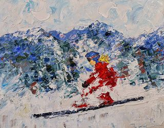 "Skier, Ski Art Paintings,Winter Art,Colorado Mountain Snow ""Ringer"" by Colorado Impressionist Judith Babcock"