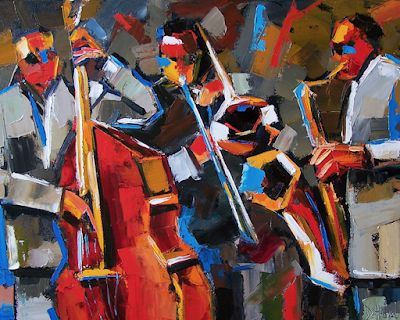 "Colorful Jazz Art, Music, Fine Art Print, Blues ""Jazz Angles"