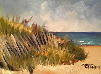 Norma Wilson Original Oil Seascape Beach Fence Grasses Coastal Decor Painting Art