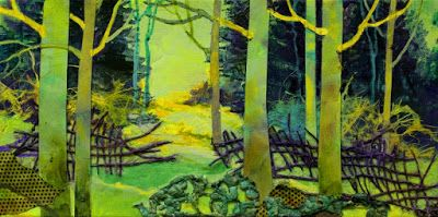 "SUMMER SALE- Mixed Media Collage Landscape Painting, ""Greenwood"" by Mixed Media Artist Carol Nelson Fine Art"