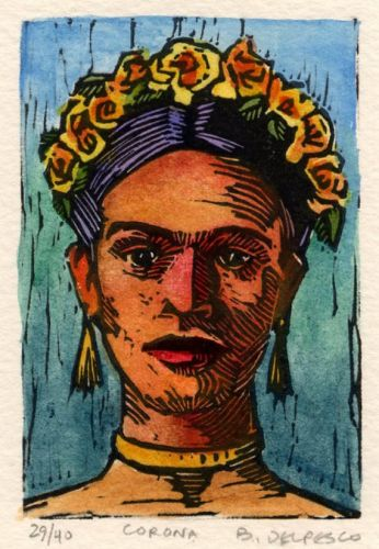 Miniature Linocut Print of Frida Kahlo