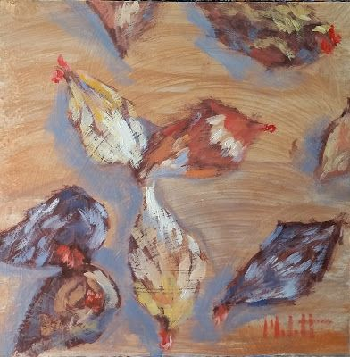 Chicken Art Original Oil Painting Heidi Malott
