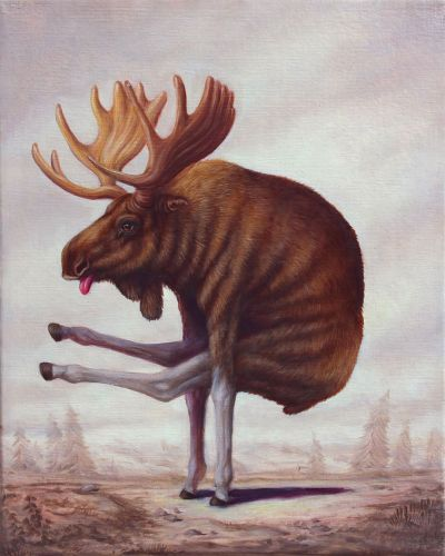 Cows, Moose, and Camels Contort into Yoga Poses and Other Surprising Positions in Paintings by Bruno Pontiroli