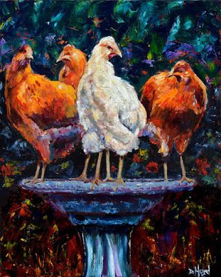"Chickens Hens Colorful Farm Animals Oil on Canvas Art ""The Girls"" by Debra Hurd"