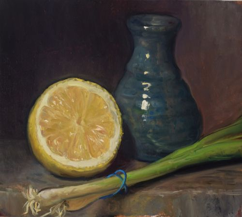 Lemon, Spring Onion and Vase
