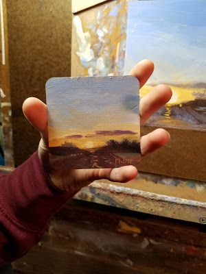 Contemporary Landscape Painting 3x3 Coaster Art
