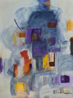 """Contemporary Abstract Painting,Expressionism Art """"Cloudy Day"""" by Oklahoma Artist Nancy Junkin"""
