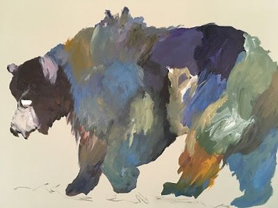 """Contemporary Abstract Expressionist Wildlife Fine Art Painting, BEAR """"BEARLY FRIENDLY"""" by Oklahoma Artist Nancy Junkin"""
