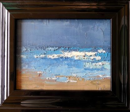 Abstract Textured Seascape, Stormy Beach Day, Original Palette Knife Oil Painting