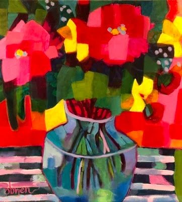 "Contemporary Abstract Still Life Art Painting ""Peonies-Full Bloom"" by Santa Fe Artist Annie O'Brien Gonzales"