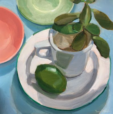 Rubber Plant and Lime on White Plate