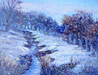 Snow Creek, New Contemporary Landscape Painting by Sheri Jones