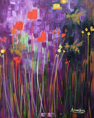 """Abstract Environmental Art , Purple Painting """"Aunt Bee"""" by International Expression Artist Arrachme"""