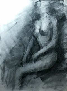Expressive female nude abstract drawing