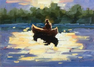 FISHING, OIL PAINTING by TOM BROWN