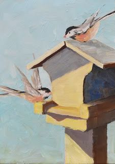 Chickadees in Morning Sun
