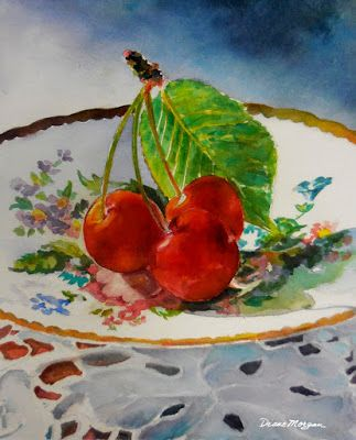 Three Cherries. Watercolor Day 8 of 30-in30