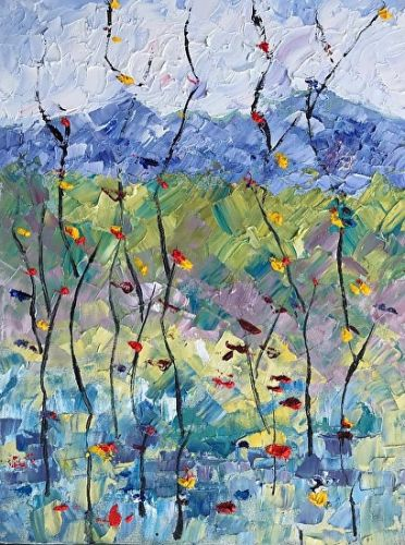 """Abstract Palette Knife Oil Aspen Tree, Flower Landscape Painting """"Summer Celebration 4"""" by Colorado Impressionist Judith Babcock"""