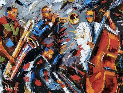 "Original Jazz Art Music Abstract Painting ""Jazz Unit"" by Texas Artist Debra Hurd"