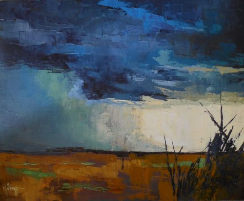 Everglades Storm, Abstract Landscape, Textured Art, Palette Knife Painting