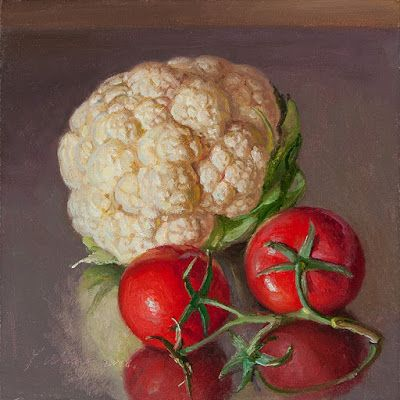 Cauliflower tomatoes still life painting for kitchen daily painting a day realism