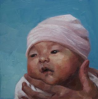 Maren, New Born 12 inch square oil on panel