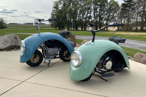 """The Wheel Hubs of a Vintage Volkwagen Beetle are Reimagined as a Pair of """"Volkspod"""" Scooters"""