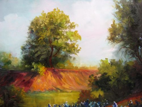 Dena's Ranch with Blue Bonnets, Barbara Haviland, oils ,Landscape