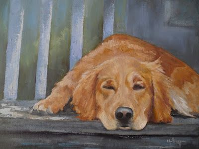 Ruby's Nap, Pet Portrait, Daily Painting, Golden Retriever Painting