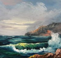Seascape with Wave,oils canvas,Barbara Haviland-Texas Artist