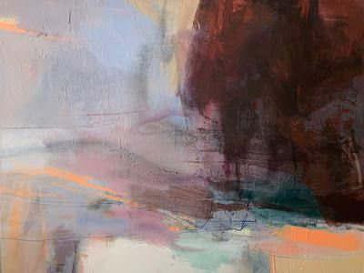 "Contemporary Art, Abstract Landscape Painting ""From Stillness"" by Intuitive Artist Joan Fullerton"