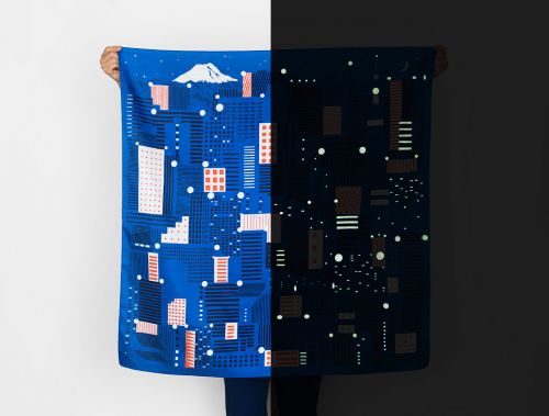 New in The Colossal Shop: LINK Collective's Glow-in-the-Dark Tokyo Furoshiki Scarf