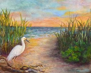 "Sunset Seascape Beach Wildlife Bird Oil Painting ""Seaside Dining"" by Florida Impressionism Artist Annie St Martin"