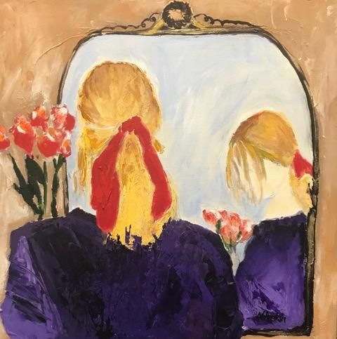 "Contemporary Portrait,Fine Art Painting,Expressionist Painting, Mirror, Flowers ""MOMENT OF REFLECTION"" by Oklahoma Artist Nancy Junkin"