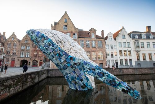 A 38-Foot-Tall Whale Made From 10,000 Pounds of Plastic Waste Surfaces in Bruges