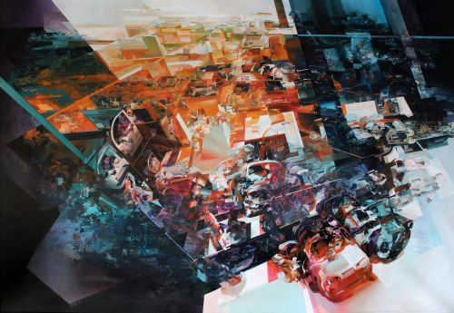 Narrative Dramas Unfold in Robert Proch's Multi-Dimensional Glitched Paintings and Murals