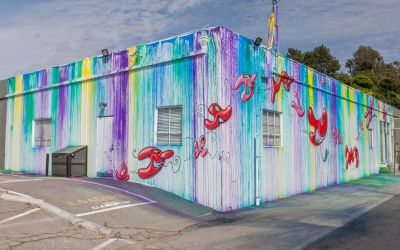 Kenny Scharf's latest mural at Hiromi Paper in Culver City, CA