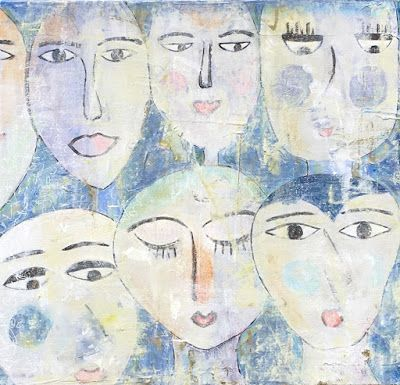 "Contemporary Abstract Expressionist Painting ""FACES IN THE CROWD"" by Abstract Artist Pamela Fowler Lordi"