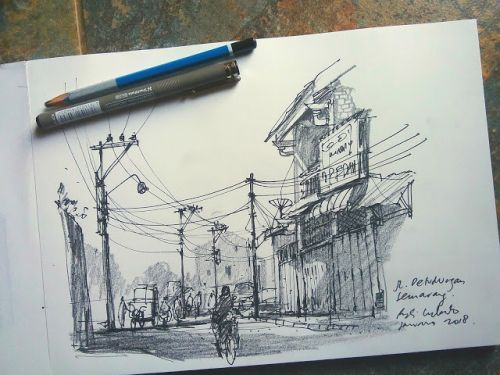 Morning exercise, pen and pencil sketching in Chinatown Semarang